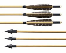 "6pcs 31"" Archery Wooden Arrows Handmade Wood Shaft Turkey Feather Arrowheads Tip"