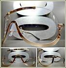 OVERSIZE VINTAGE RETRO SHIELD Style Clear Lens EYE GLASSES Rose Gold Metal Frame