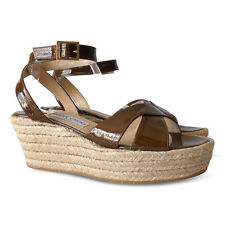 NEW $463 JIMMY CHOO Pepper Patent Leather Espadrille Sandals - Brown - Size 39.5