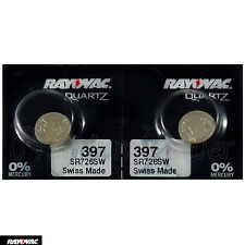 2 x Rayovac 397 batteries Silver Oxide 1.55V SR726SW SR59 SR726 Watches Swiss