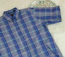 Wentworth Mens Shirt Size Medium Blue Plaid Short Sleeve Button Down o901
