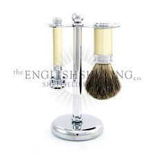 Edwin Jagger 3 Piece Ivory & Chrome Set (Double Edge Razor, Brush and Stand)