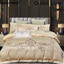 Luxury Cotton Satin Bedding Set Egyptian Cotton Embroidery Cover Fitted Sheet