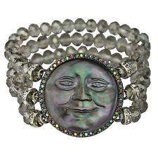 KIRKS FOLLY MOTHER OF PEARL SEAVIEW MOON STRETCH BRACELET ANTIQUE ST/GREY MIST