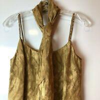 Joseph Ribkoff Women's Brown Size 12 Dress Gem Spaghetti Strap with Scarf