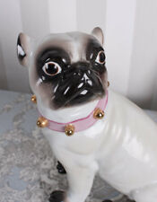 Porcelain Dog mopshund with Collar Mops Vintage Figure Dog Pug Porcelain