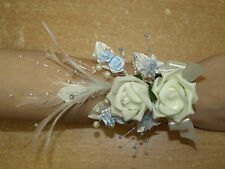LADIES WRIST CORSAGE IN IVORY AND PALE BLUE,  WEDDING FLOWERS, BRIDAL