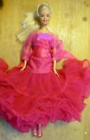 Barbie doll Platinum Blonde Hair body bathers top pink dress frilly skirt