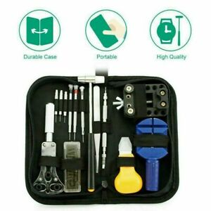 Watch Repair Tool Kit Opener Spring Bar Link Remover Free Hammer with Carry Case