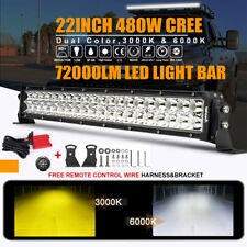 """8D+ 22inch 480W CREE LED Work Light Bar Fog Combo Dual Color Offroad Truck 20""""23"""