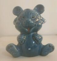 Rare Vintage Italian European Pottery Glazed Ceramic Bear Money Box Piggy Bank