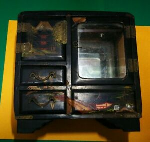 Antique Japanese Jewelry Box Working Detached Music Box