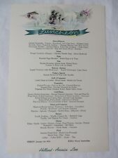 Vtg Holland America Line Cruise Lunch Menu 1.01.54 RMS Nieuw Amsterdam #7370