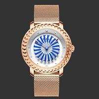 Ladies Quartz Wrist Analog Watch Unique Tone White Blue Dial Rose Gold Stainless