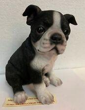 "Sit Up Cute Boston Terrier Puppy Dog Pet Pal 6.5""H Figurine Statue Black White"