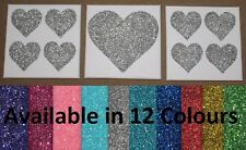 Set of 3 White & Glitter Heart Canvas Wall Art Pictures - 12 Colours to Choose