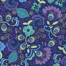 Violet, Turquoise Jacobean Floral, Chong-a Hwang, Timeless Treas, 1/2 Yard Cut