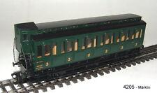 Märklin HO 4205 Wagon voyageurs 3eme Classe SNCF Vert 3 essieux avec Boite.
