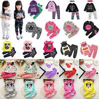 2Pcs Kids Baby Girls Clothes Sweatshirt T-shirt Tops Pants Tracksuit Outfits Set