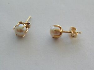 QUALITY 14K YELLOW GOLD EXTENDED PRONG 5mm AKOYA PEARL STUD EARRINGS