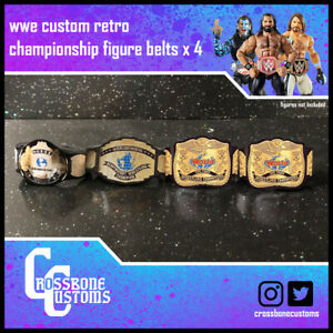 WWE/WWF Custom retro wrestling figure belt set x4 for Hasbro/Mattel figures