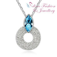 18K White Gold Plated Made With Swarovski Crystal Marquise Cut Circle Necklace
