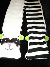 Boys Girls warm Black white stripe animal panda teddy ear pom pom pocket scarf