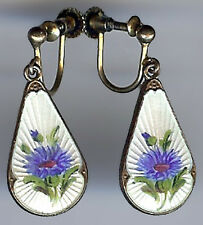 IVAR HOLT NORWAY VINTAGE GOLD WASH STERLING BLUE ENAMEL FLOWER DANGLE EARRINGS