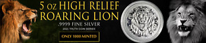 2021 - Niue Roaring Lion 5 oz .9999 FINE Silver High Relief Coin BU - IN-STOCK