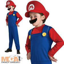Super Mario Age 8-10 Boys Fancy Dress Retro Video Game 90s 80s Kids Costume New