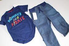 Gymboree Stripes & Anchor Boys Denim Pants Shirt Top Pirate Size 18-24 M NWT