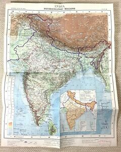1968 Vintage Map of India Indian Sub Continent Physiographic Regions RARE