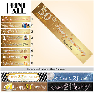 50th Birthday Custom Decoration & Supplies Personalised Canvas Party Banner
