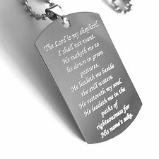 PSALM 23 THICK STAINLESS STEEL NECKLACE DOG TAG PRAYER MEMORIAL