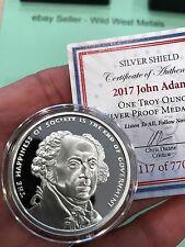 2017 JOHN ADAMS PROOF #2 SILVER SHIELD PRESIDENTIAL SERIES - RARE 770 MINTED