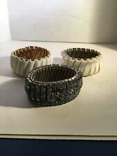 3 Vintage Accordion Stretch Jewelled And Lucite Bracelet Lot