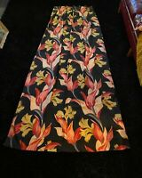 Vintage Barkcloth Drapes - Art Deco Black & Tropical Curtains - Mid Century
