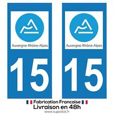 2 STICKERS AUTOCOLLANT PLAQUE IMMATRICULATION DEPT 15  Auvergne-Rhône-Alpes