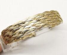 Vtg Sterling Silver Woven Chain Bracelet Braided Vermeil Woven 10 Strand Estate