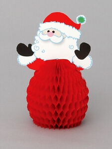 4 x Santa honeycomb centrepieces Christmas party table decorations FREE P&P
