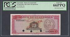 Guatemala 10 Quetzales 1965-1970 P54s Specimen TDLR N2 Uncirculated