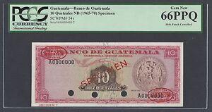 Guatemala 10 Quetzales 1965-1970 P54s Specimen TDLR N2 Uncirculated Grade 66