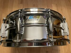 70's Blue & Olive Badge LUDWIG LM400 Supraphonic 5x14 Snare Drum NICE