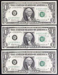 1969-A Chicago $1 FRN Near Consecutive Lot of 3 Notes (C343)
