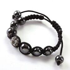 Bracelet Ytarra Shamballa 6 boules de verre grises et une de strass gris
