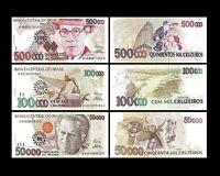 Brésil - 2x 50, 100, 500 Cruzeiros - Edition 1993 Dom Pedro II - Reproduction 02