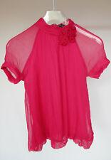 TRAFFIC PEOPLE hot pink high neck sheer silk blouse, Size M