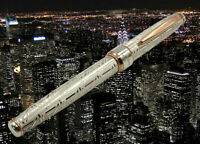 Pen & The City Solid Silver Fountain Pen Black Cartridge Pelikan Type Medium Nib