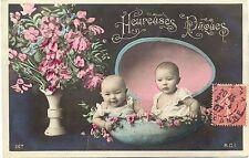 Ostern, Kinder in einer Eierschale, Blumen, 1907