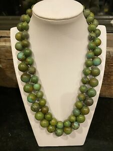 Estate Double Strand Green turquoise Beaded Necklace w 14K yellow gold clasp WOW